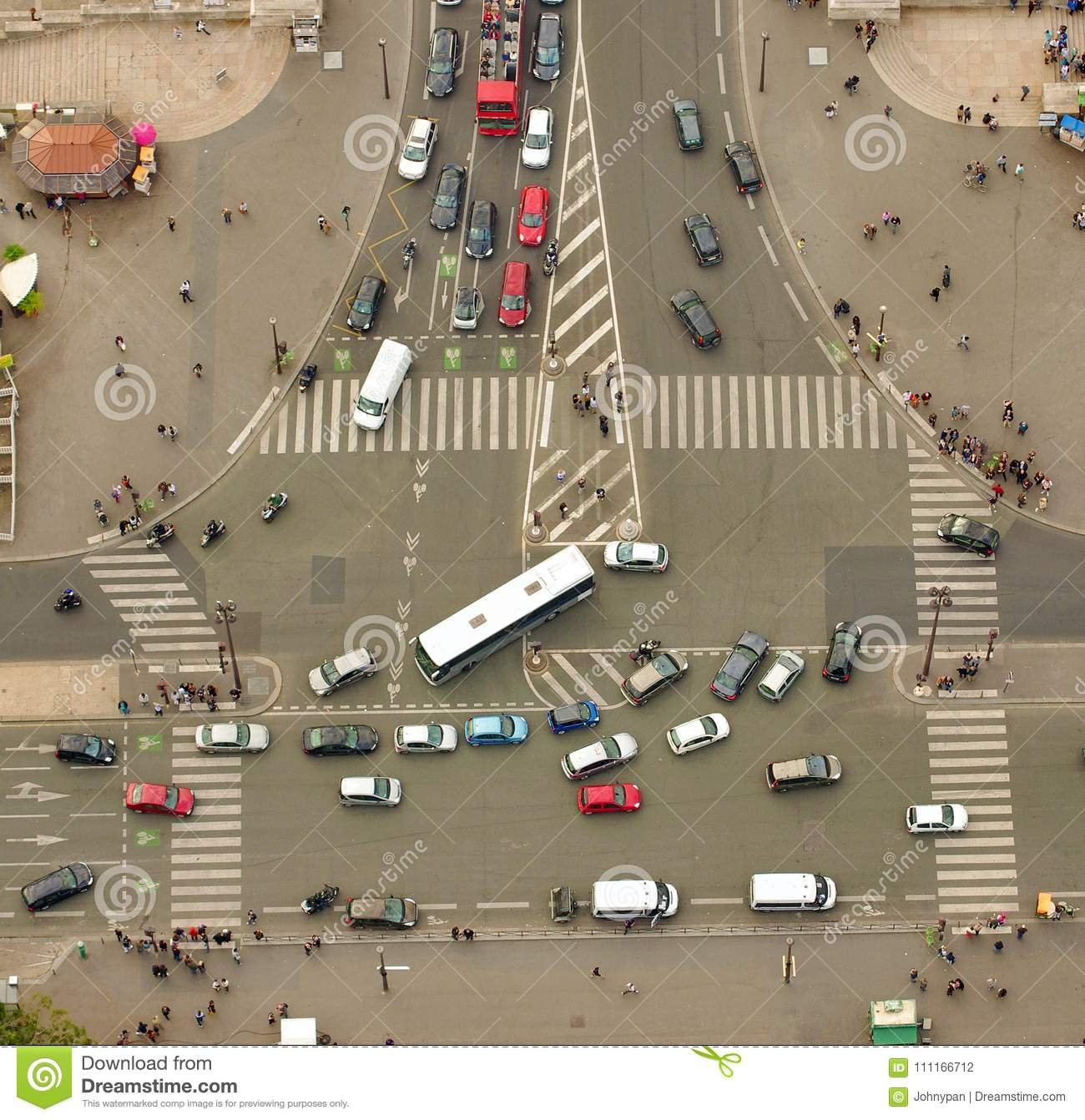 Download Aerial View Of Cars And People Busy Traffic Stock Photo