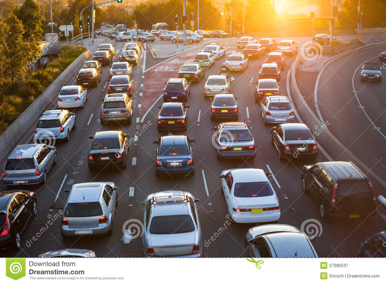 Aerial View Of Cars In Traffic Royalty Free Stock