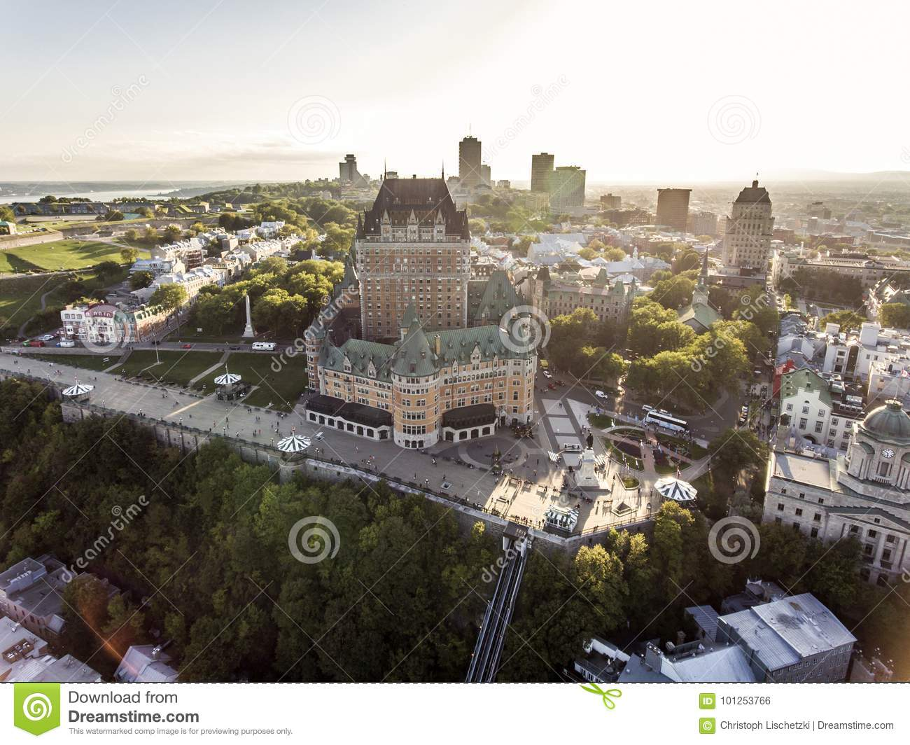 Aerial helicopter view of Chateau Frontenac hotel and Old Port in Quebec City Canada.