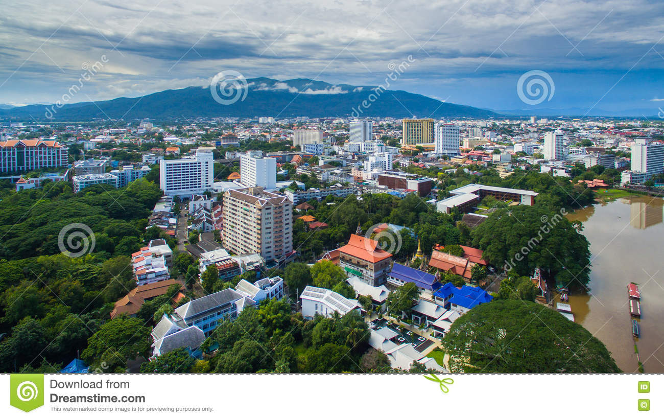 Aerial view Chiang Mai City, High angle view Planning Thailand