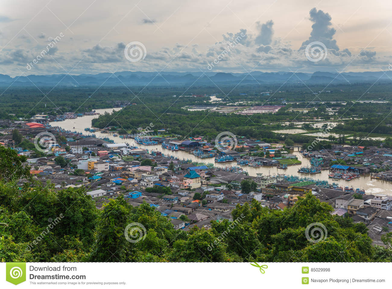 Aerial view of Chumphon estuary