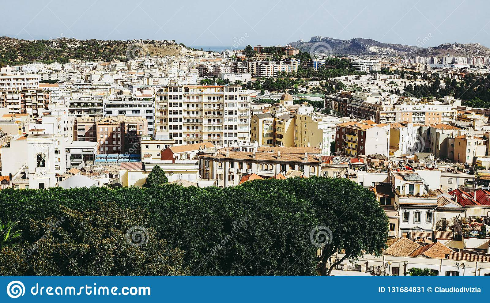 Aerial view of Cagliari, Italy