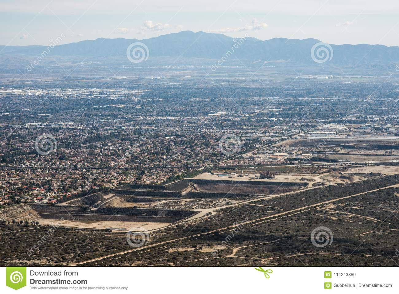 Aerial View Of The City Of Claremont Ontario Upland Rancho