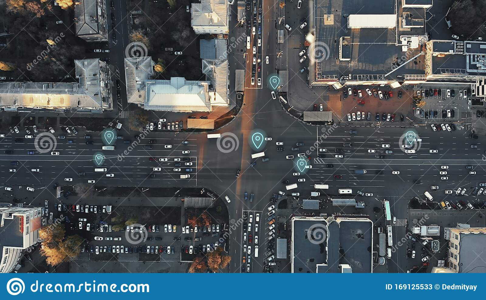 Aerial View Of City Intersection With Many Cars And GPS ...