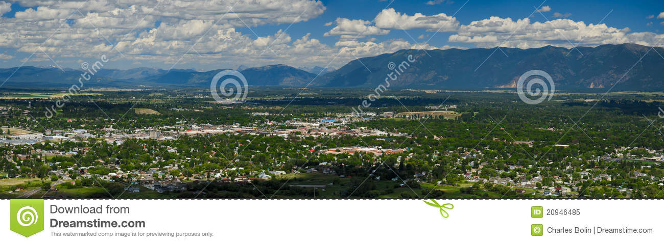 Aerial View Of The City Of Kalispell, Montana Royalty Free Stockkalispell city