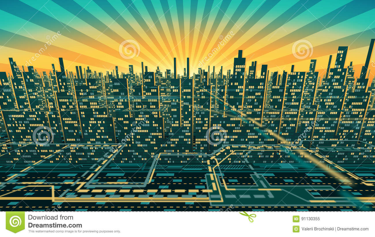 Aerial view of city skyscrapers silhouette with glowing Windows in the background of the shining sky