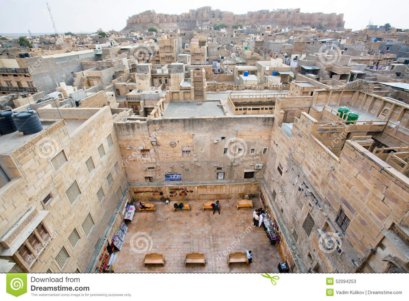 Jaisalmer Stone Elevation : Aerial view on city streets and stone house courtyard