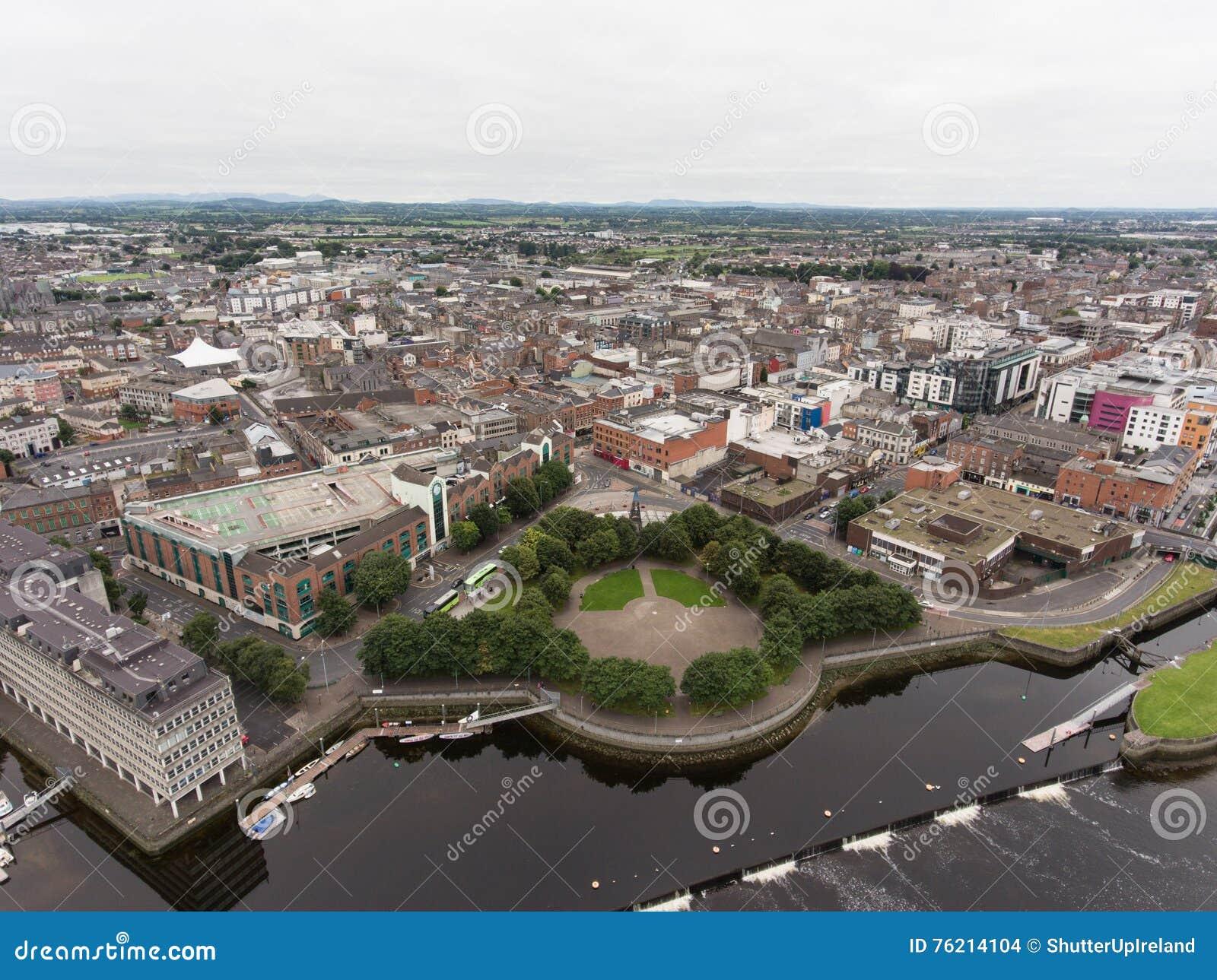 Aerial View Cityscape Of Limerick City Skyline, Ireland