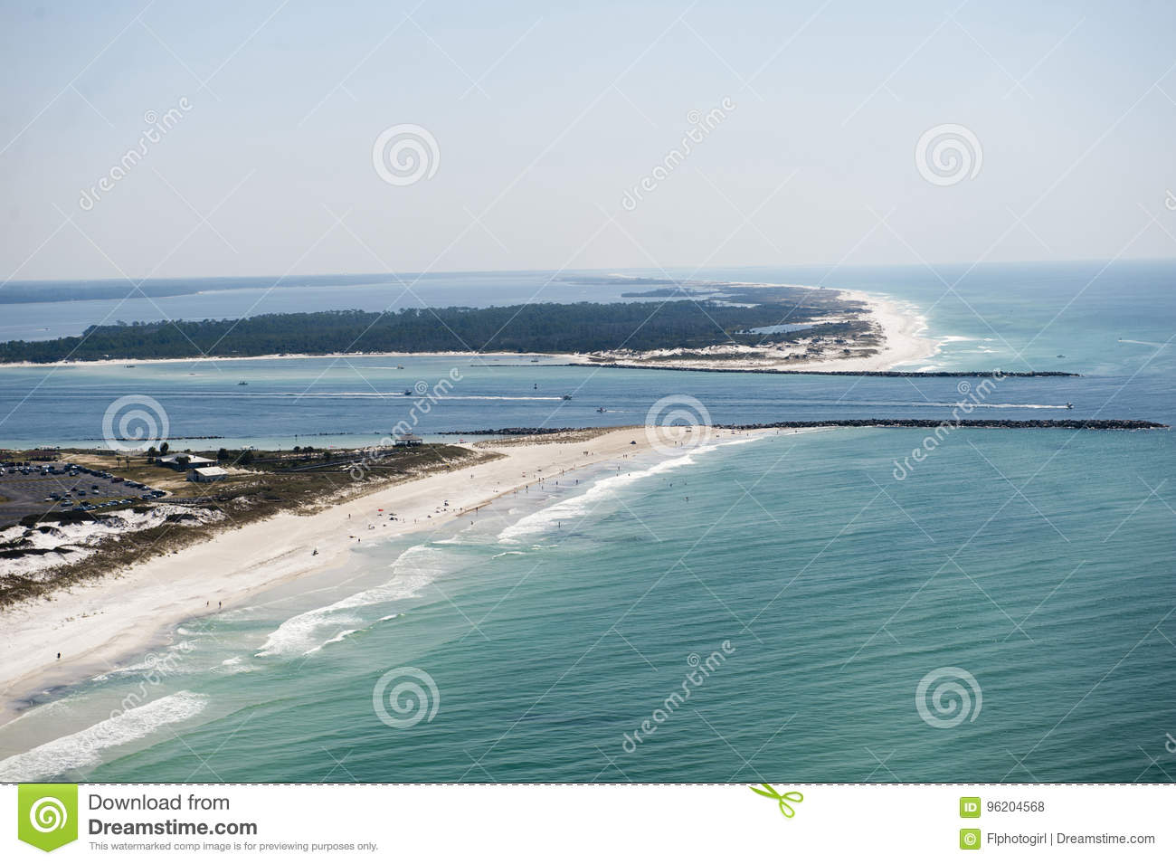 An aerial view of the coastline of Panama City Beach Florida at St. Andrews Bay
