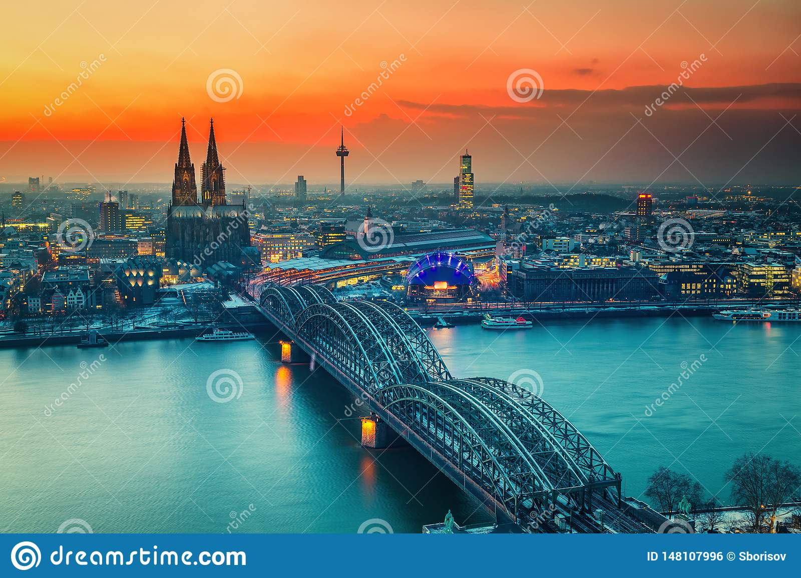 Aerial view on Cologne at night