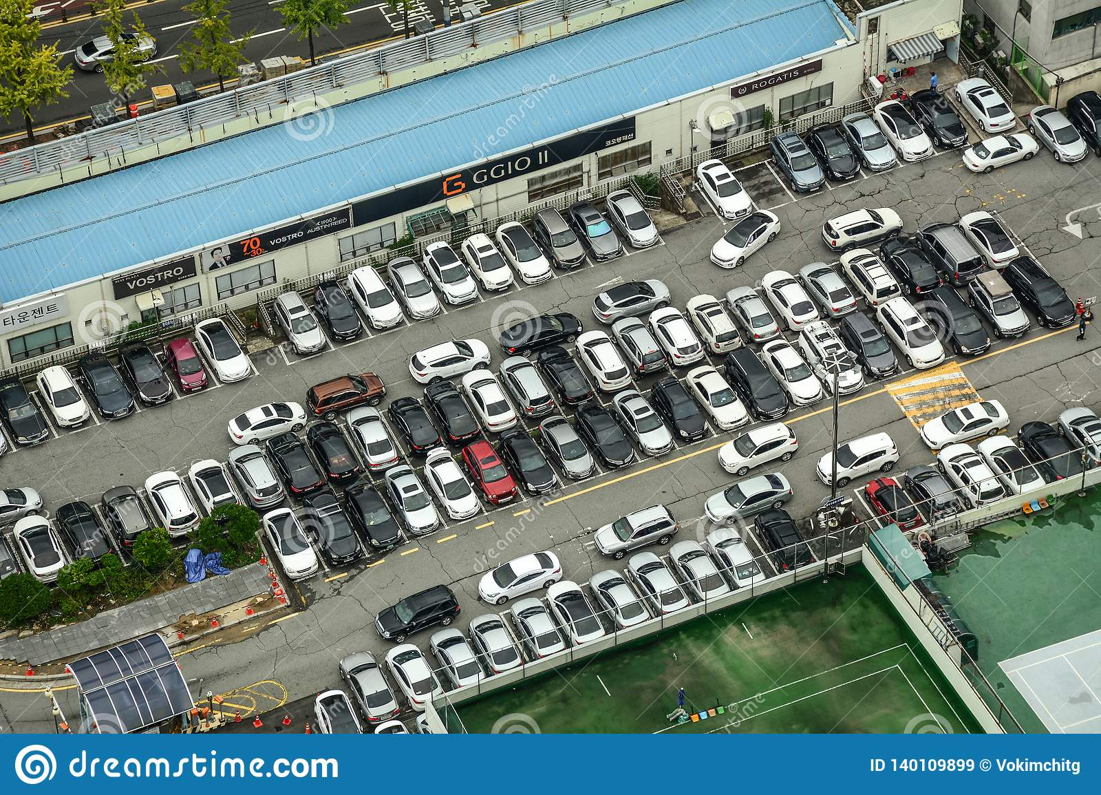 Aerial view of colorful cars at parking lot