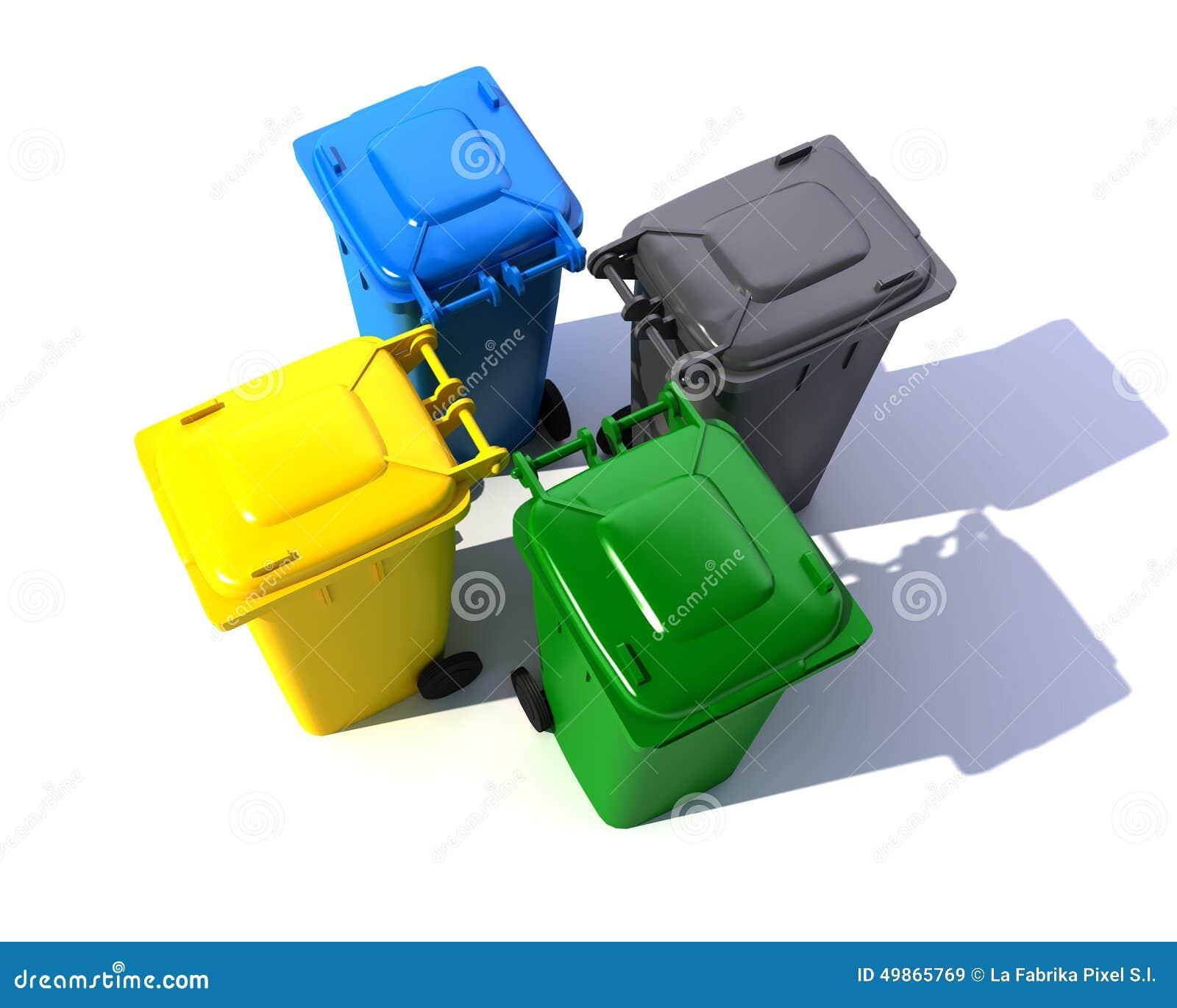Aerial view of colorful garbage bins