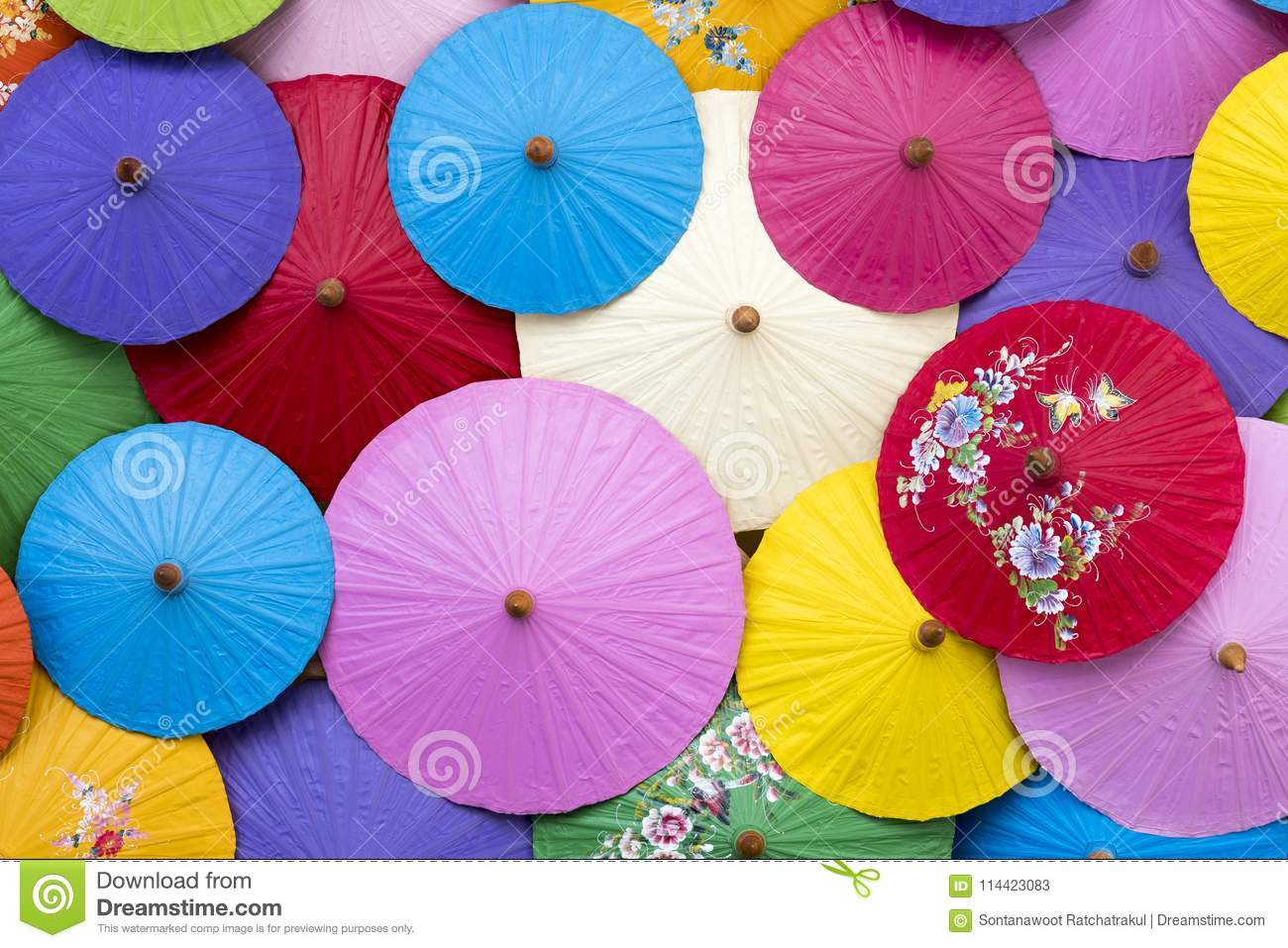 Aerial View Of Colorful Umbrellas Background. Stock Image - Image of ...