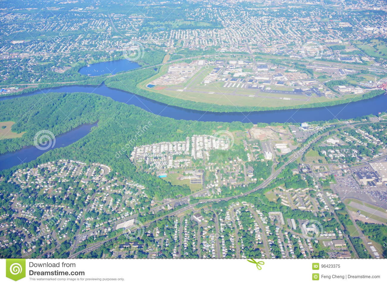 Aerial view of Connecticut river