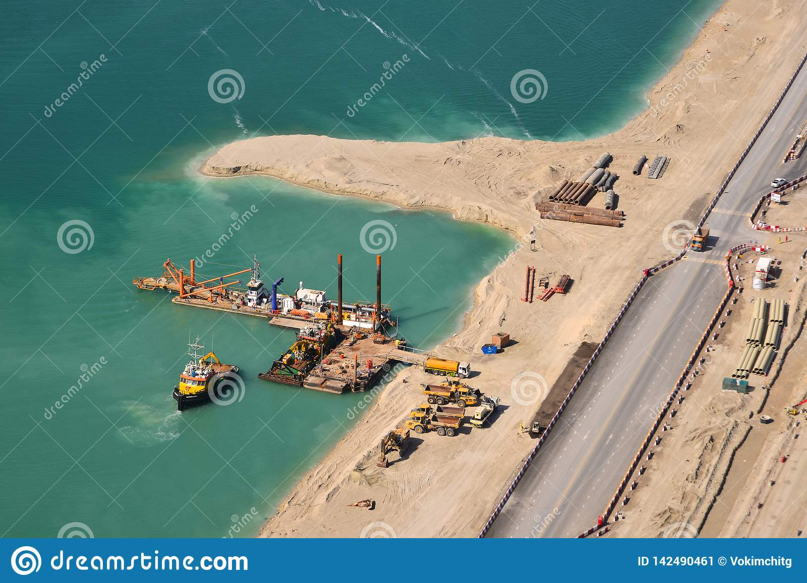 Aerial view of construction on artificial island