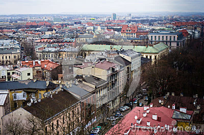 Aerial view of Cracow Poland