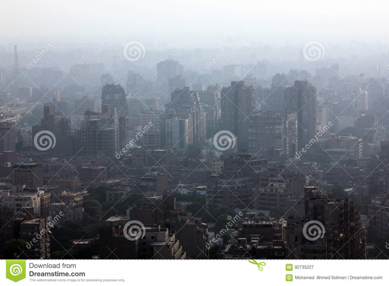 Aerial view of crowded cairo with hazy air condition in egypt