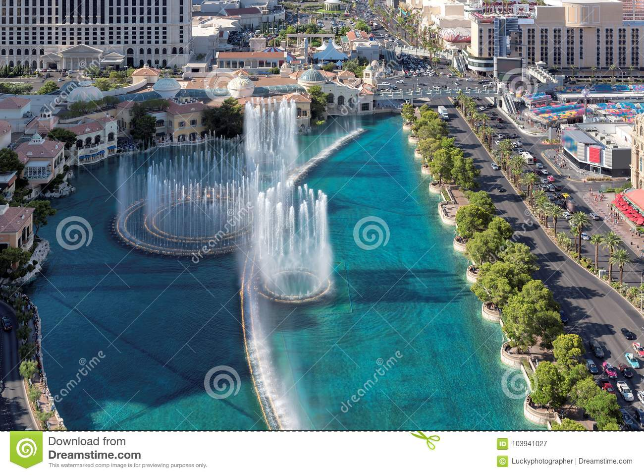 Download Aerial View Of Dancing Fountains In Las Vegas Strip Editorial Photography - Image of nevada, cards: 103941027