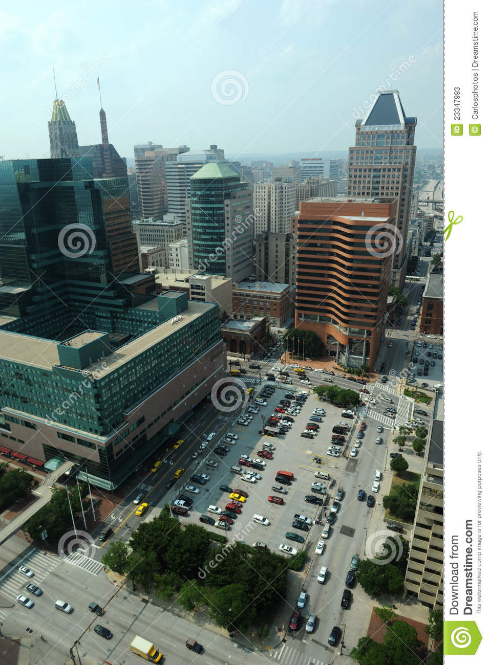 Aerial View Of Downtown Baltimore Editorial Stock Photo