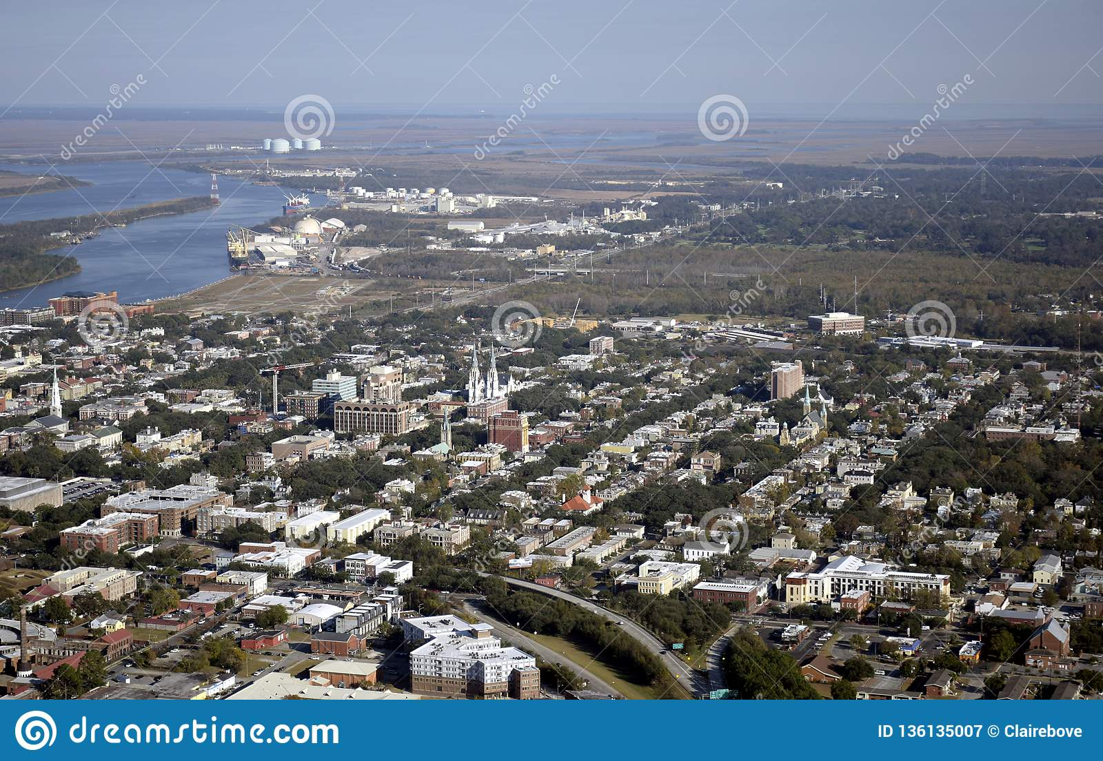 Aerial View Of Downtown Savannah Editorial Photography