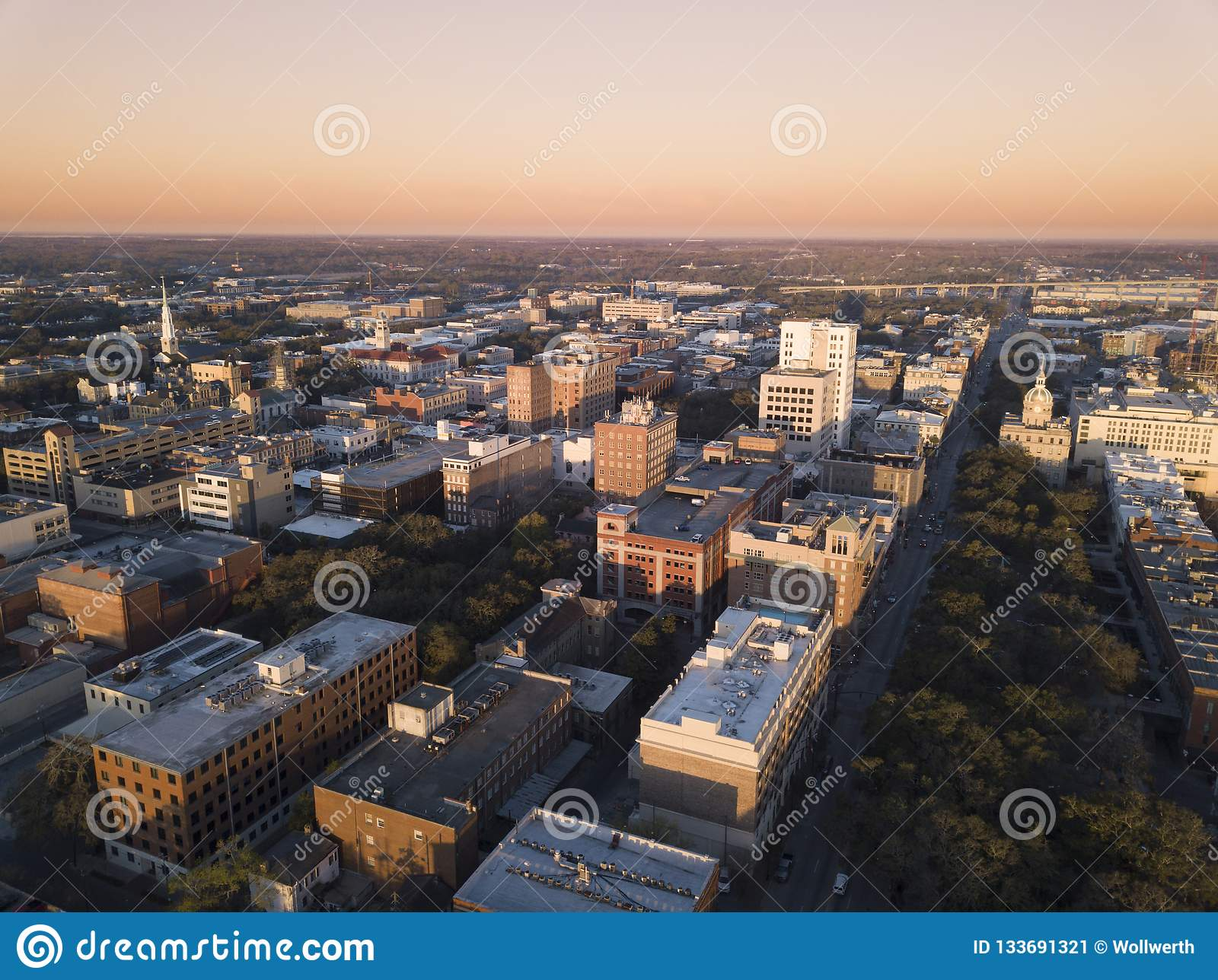 Aerial view of downtown Savannah Georgia at first light