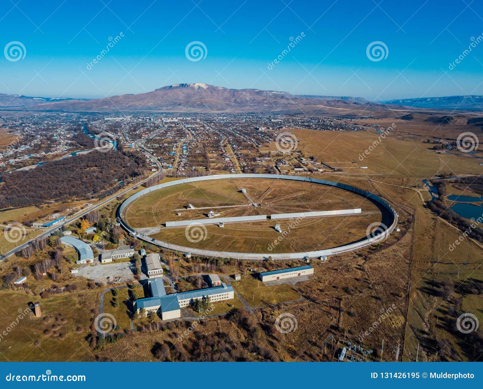 Aerial view from drone to big radio telescope RATAN-600 SAO RAS. Zelenchukskaya, Karachay-Cherkessia, Russia