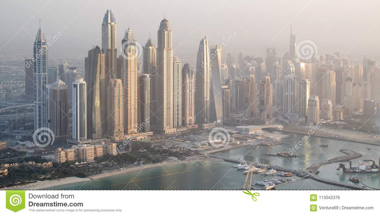 Aerial view of Dubai marina skyline with tallest buildings, UAE