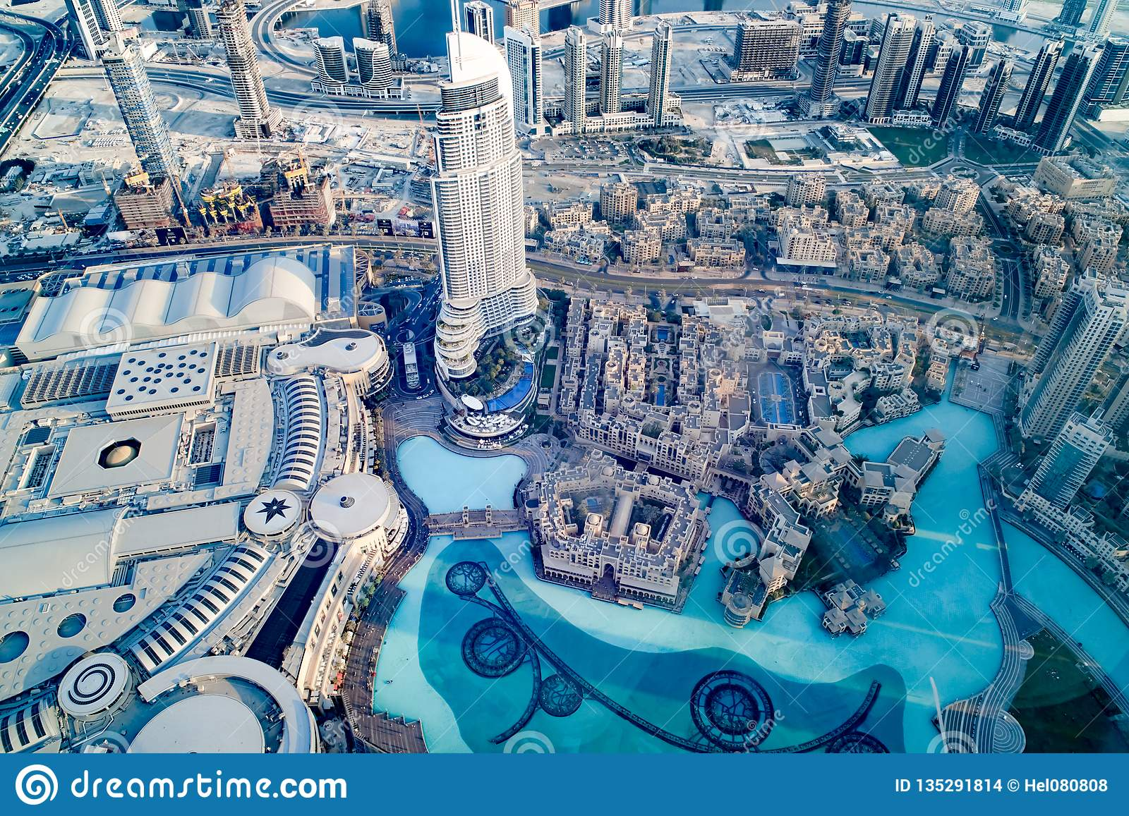 Souk Al Bahar And Downtown Dubai With Shopping Mall And
