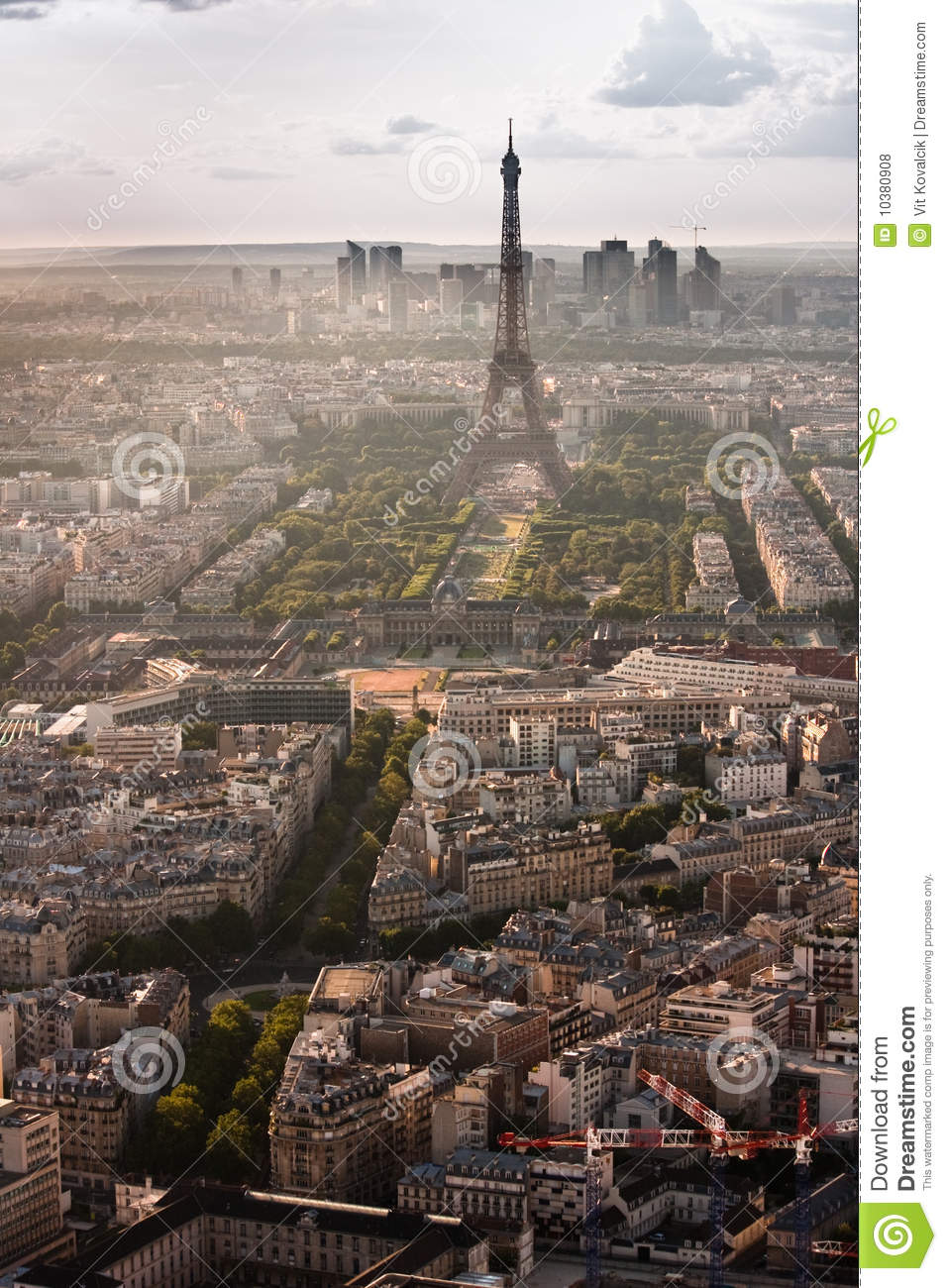 Aerial View Of Eiffel Tower And La Royalty Free Stock