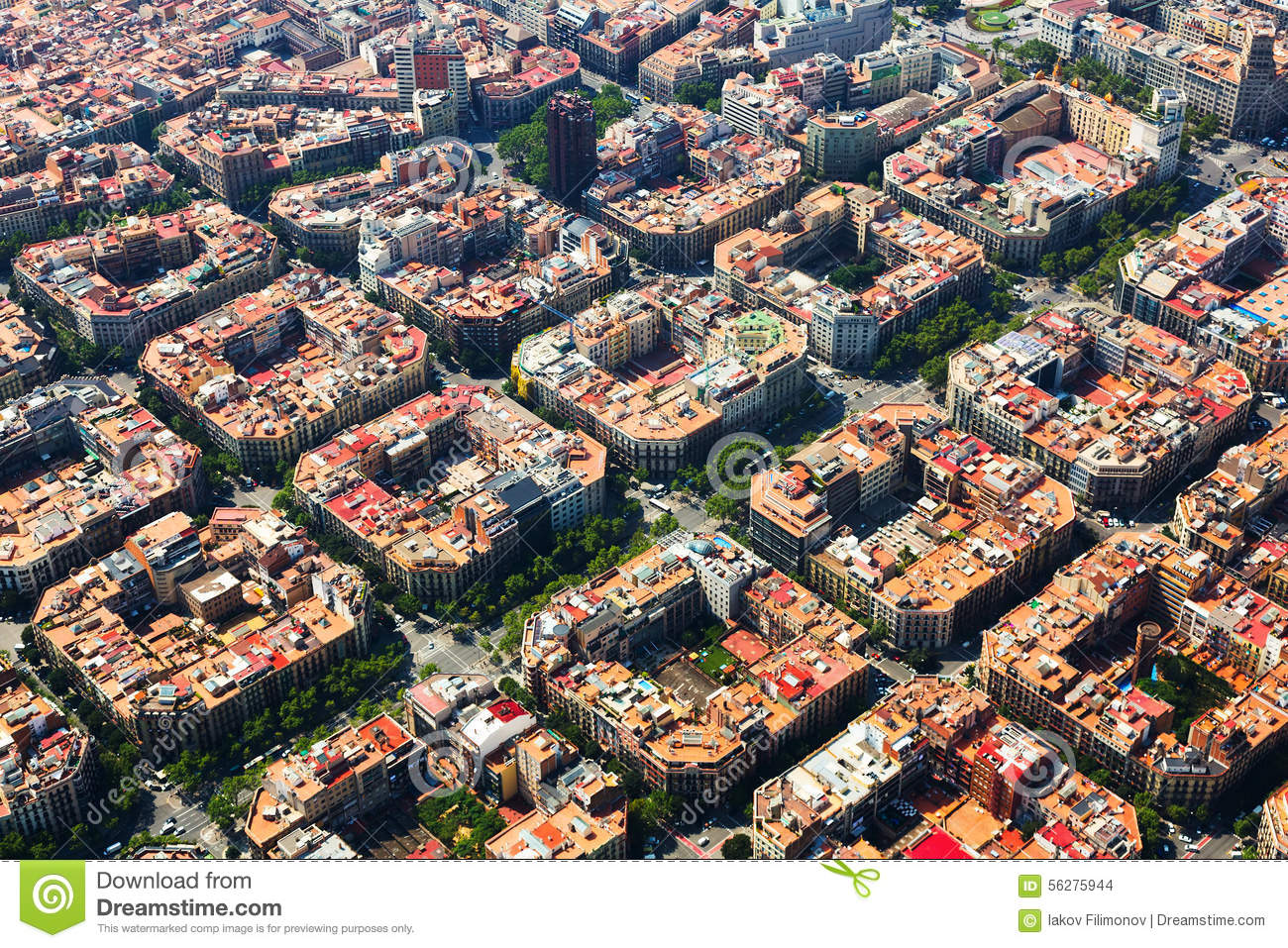 aerial barcelona district eixample