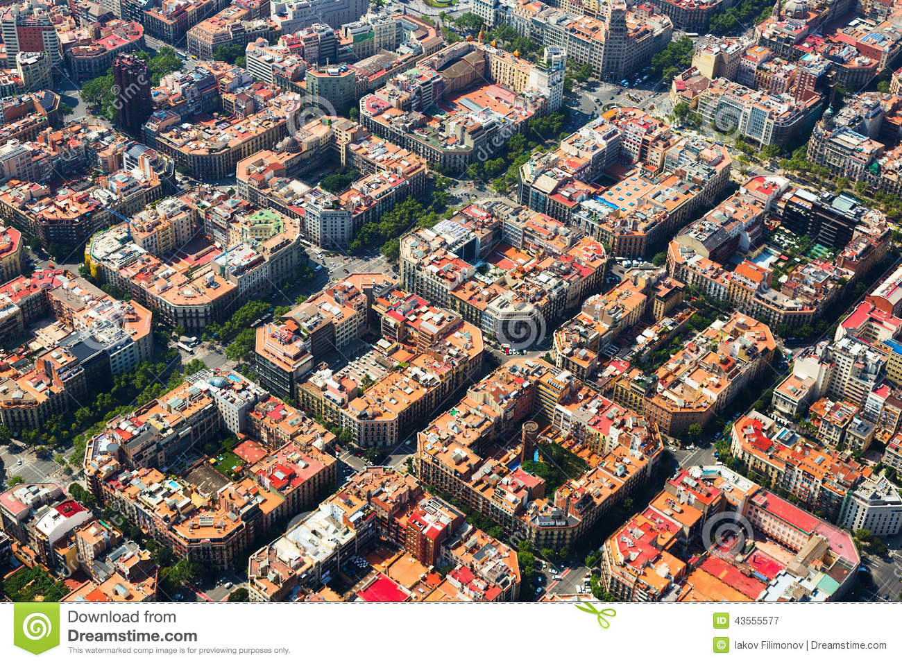 Aerial View Of Eixample District Barcelona Spain Stock Image