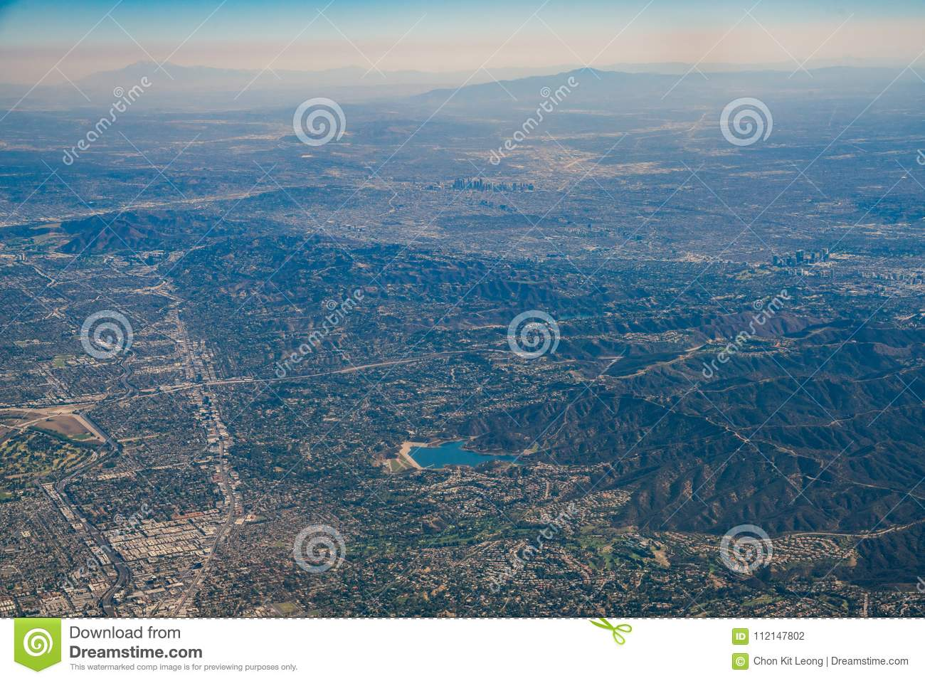 Aerial View Of Encino Reservoir, Van Nuys, Sherman Oaks