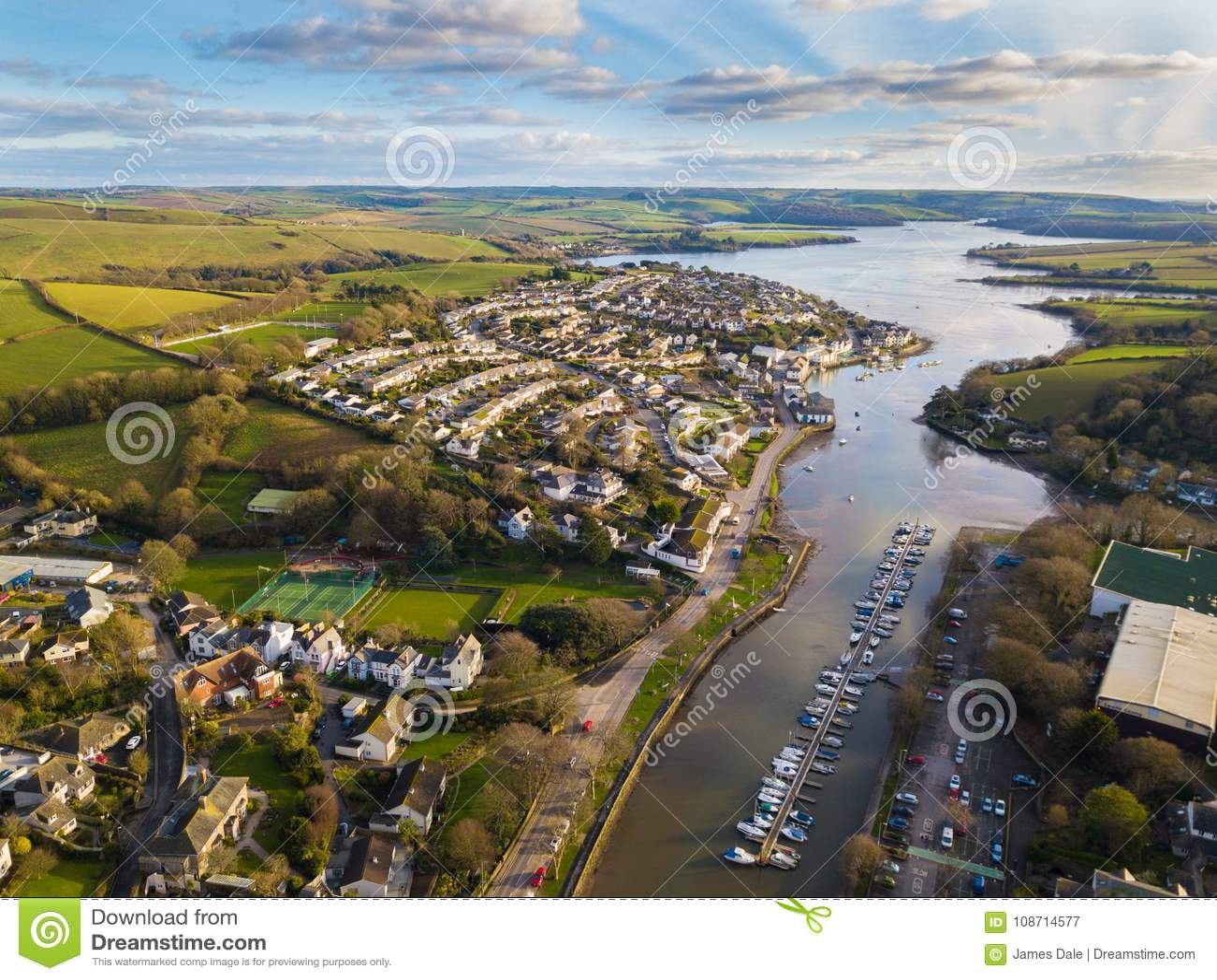 An aerial view of the Kingsbridge Estuary, Devon, UK