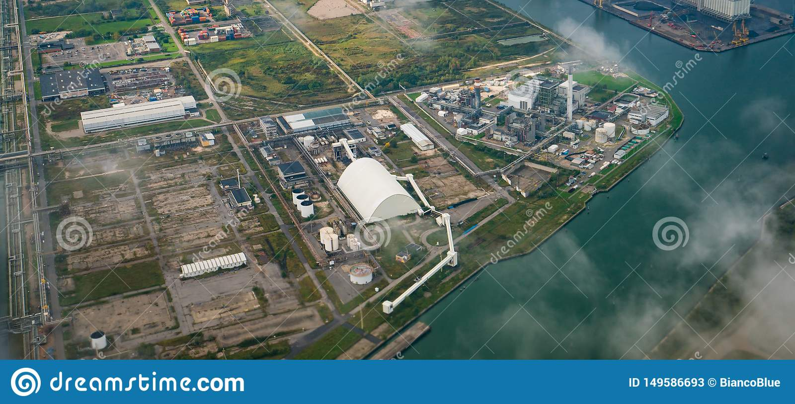 Aerial view of factories in industrial district