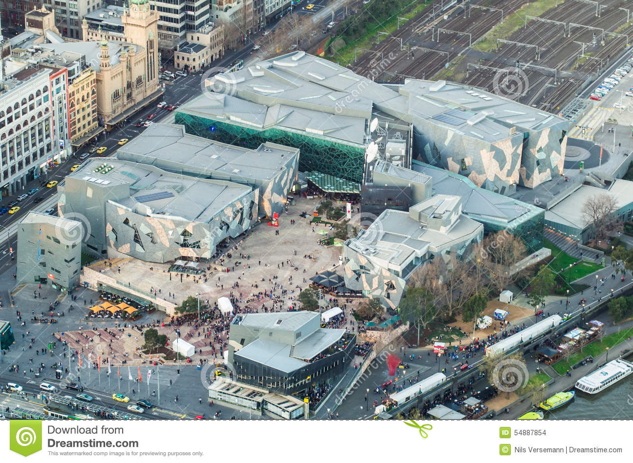 Aerial view of Federation Square in Melbourne, Australia