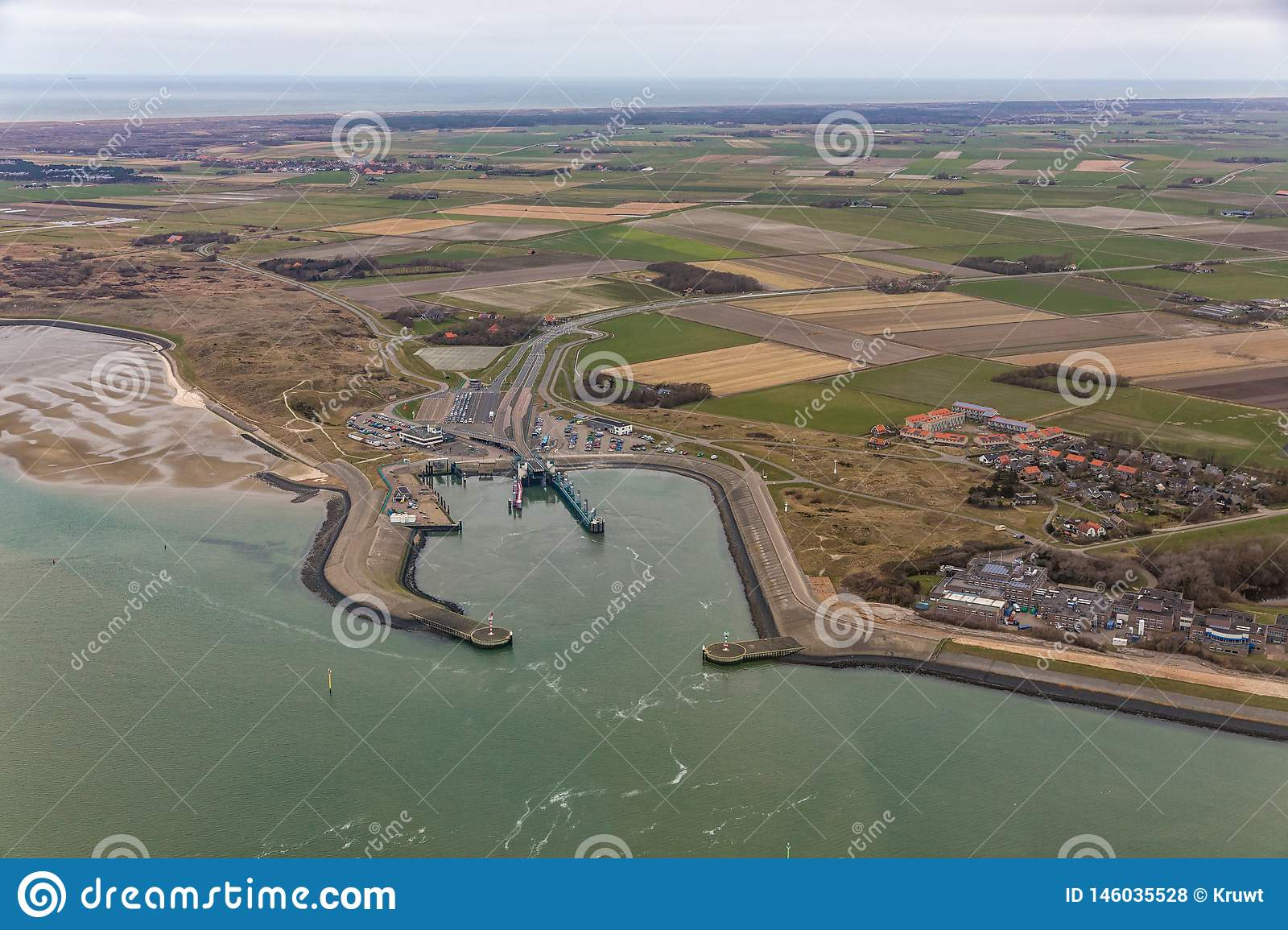 Aerial view ferry terminal Het Horntje at Dutch island Texel