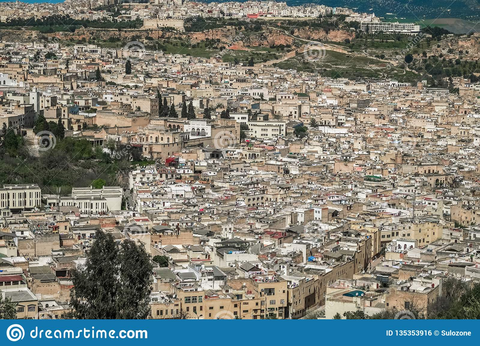 Aerial View Of Fes El Bali, Morocco  Stock Photo - Image of
