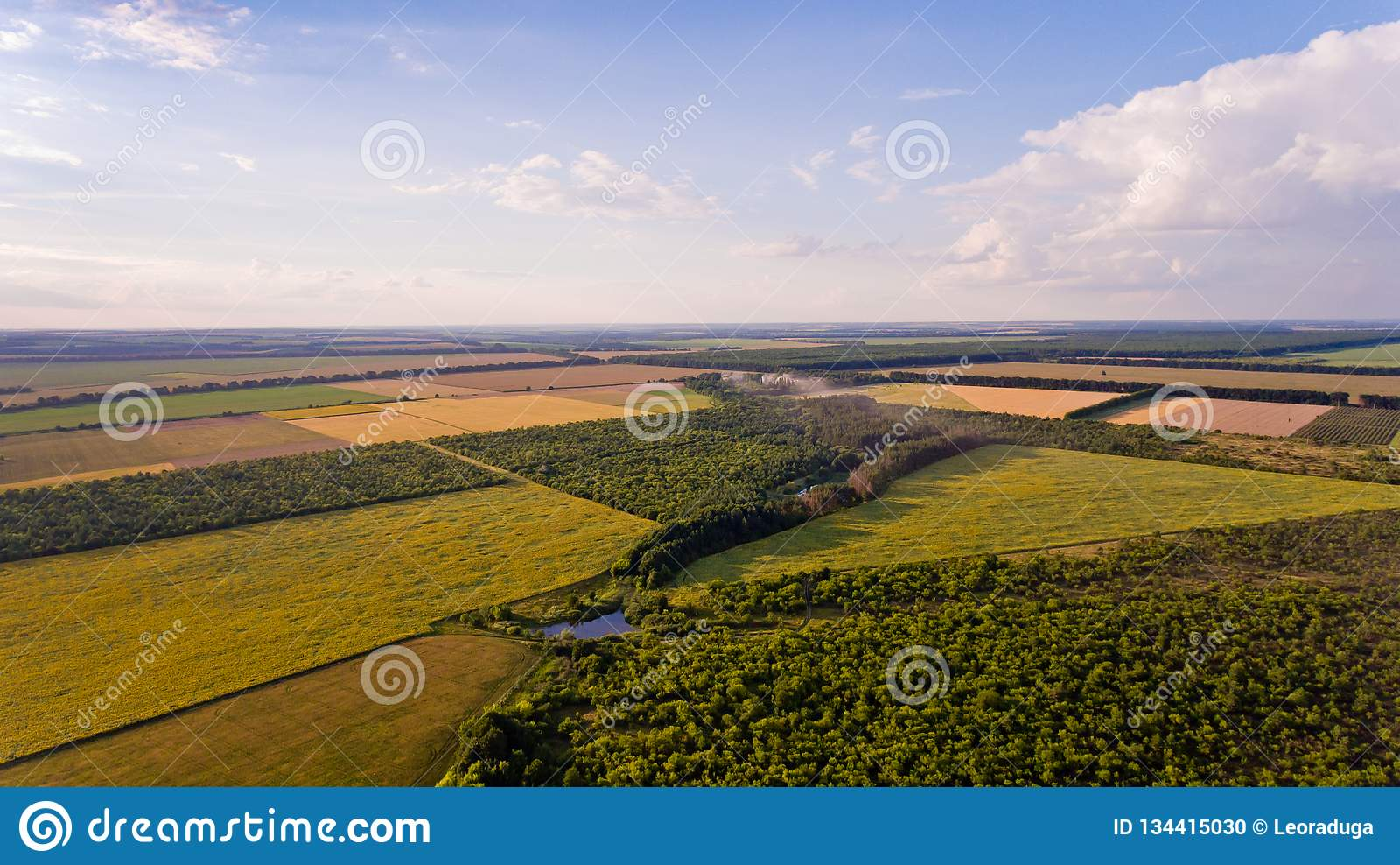 Aerial View Of Fields Forest River Stock Photo Image Of