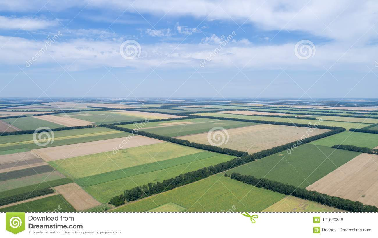 Aerial View Of Fields With Various Types Of Agriculture, Against