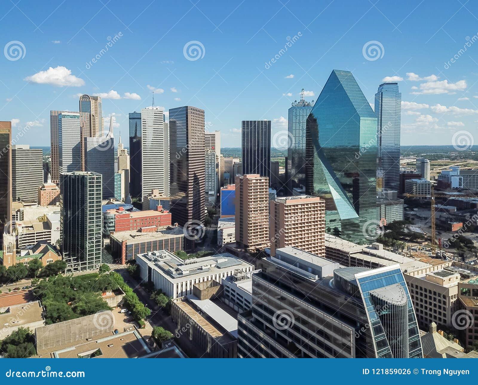 Blue Skies Of Texas >> Aerial View Downtown Dallas Skyscrapers Under Cloud Blue Sky