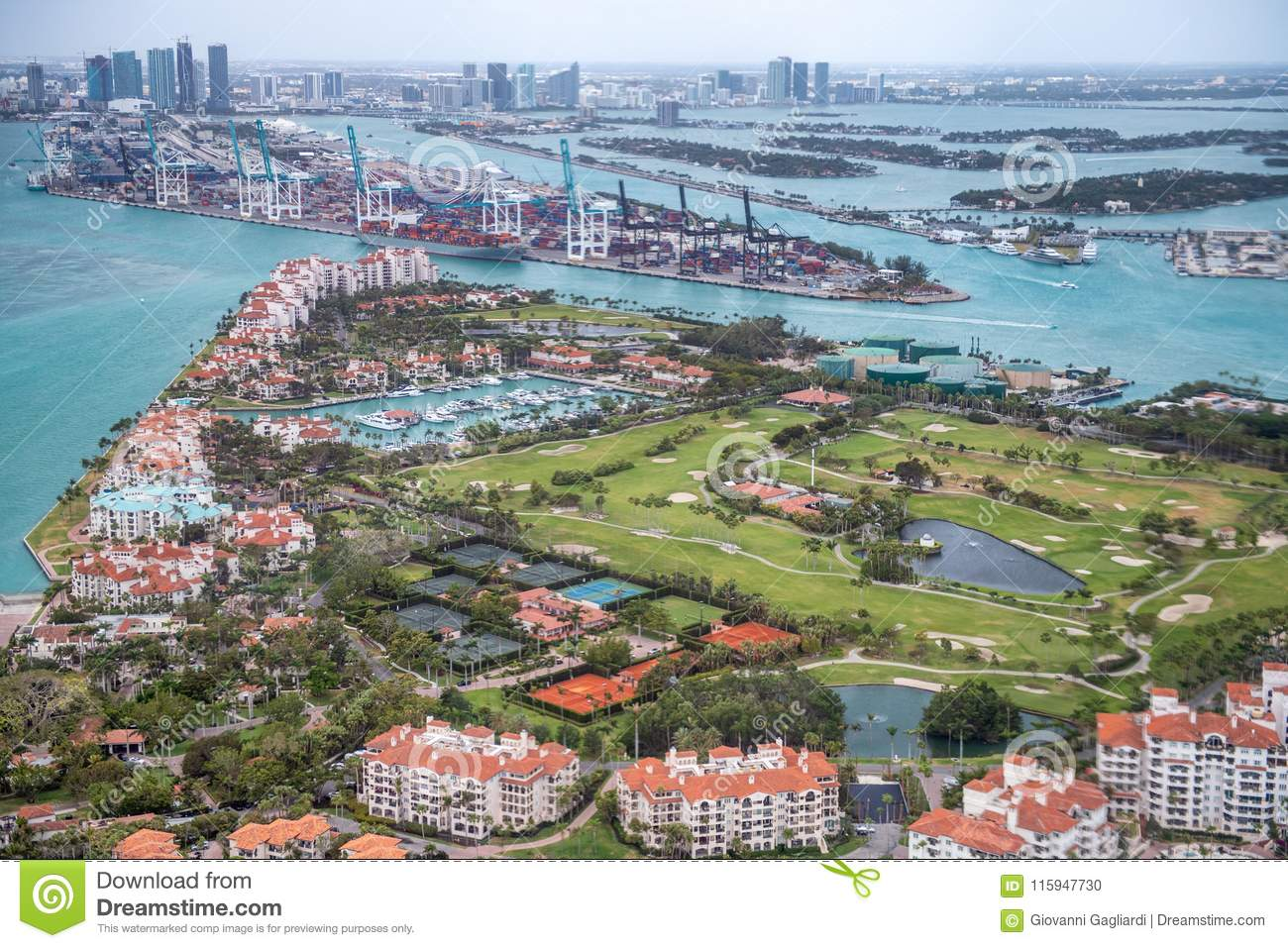 Aerial view of Fisher Island and Miami skyline, Florida