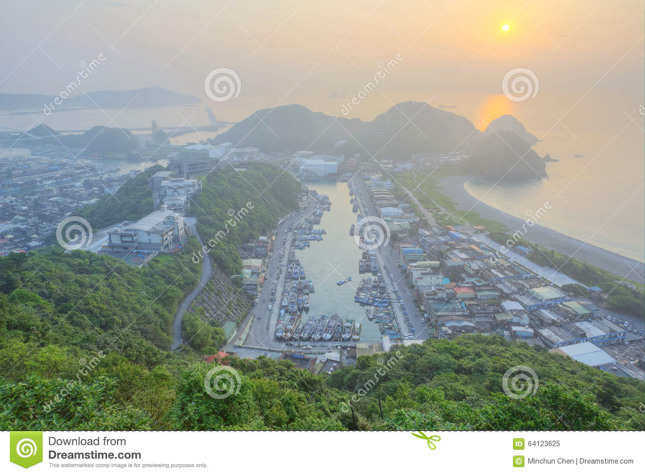 Aerial view of a fishing village at dawn on northern coast of Taipei Taiwan