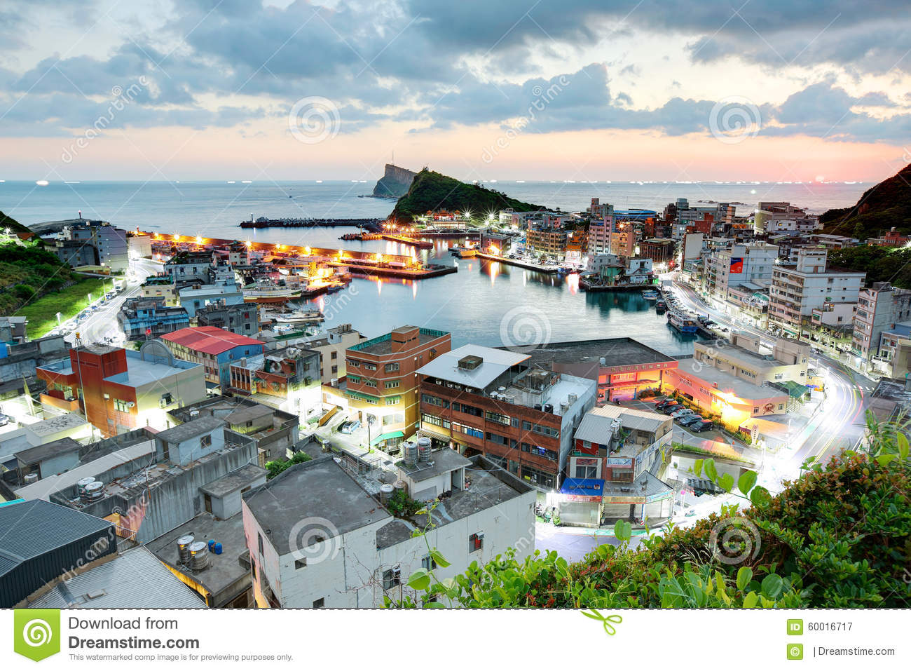 Aerial View Of A Fishing Village At Dawn On Northern Coast