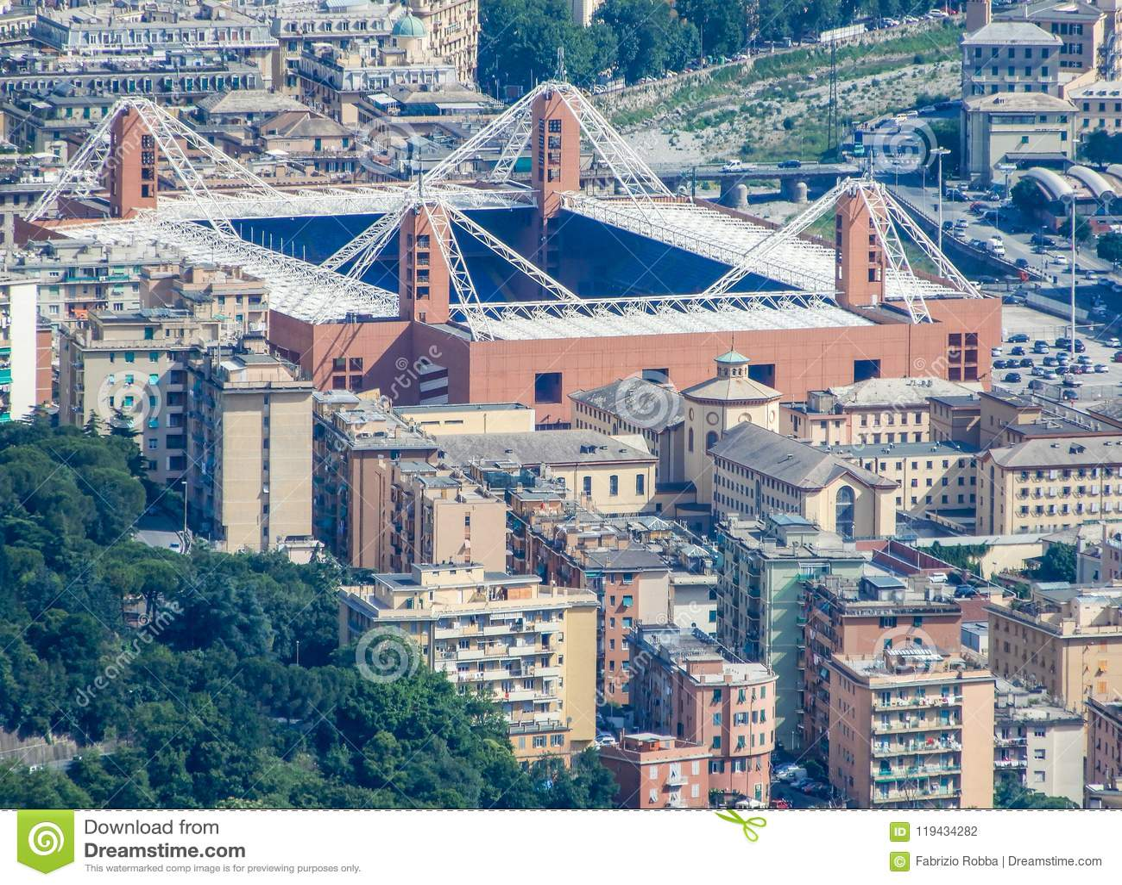 Aerial view of the football stadium` Luigi Ferraris` of Genoa, Genova, Italy. In this Stadium play Serie A teams of Genoa Cricke