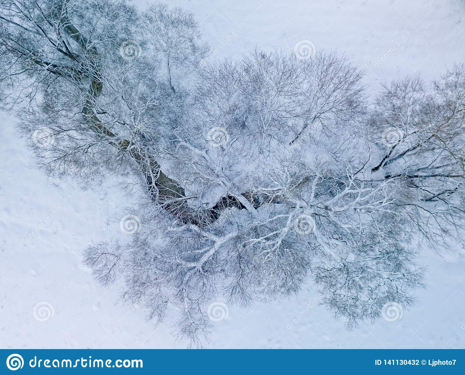 Aerial view of small river in winter day