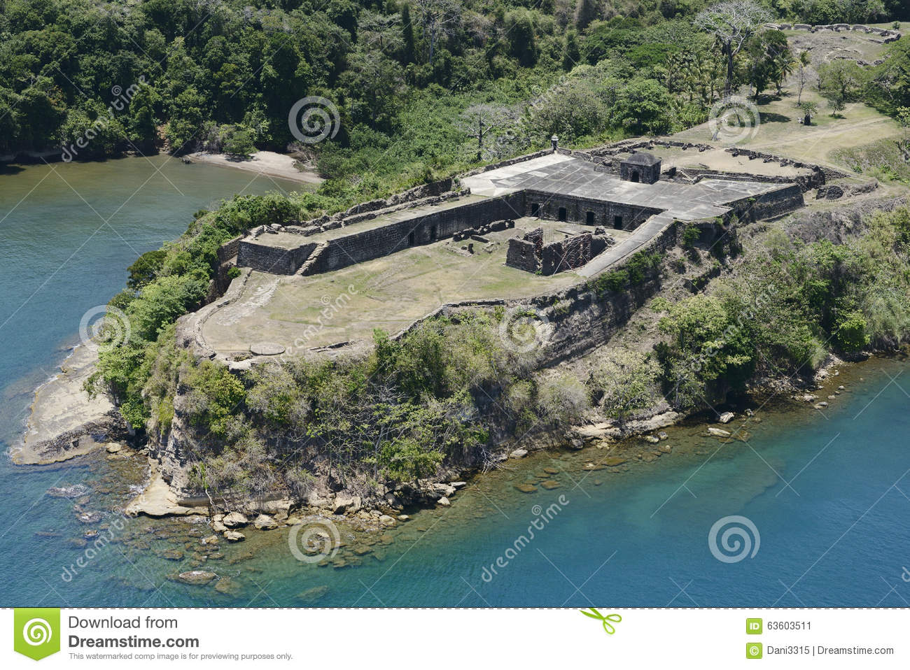 Aerial View Of Fort Sherman At Toro Point Panama Canal