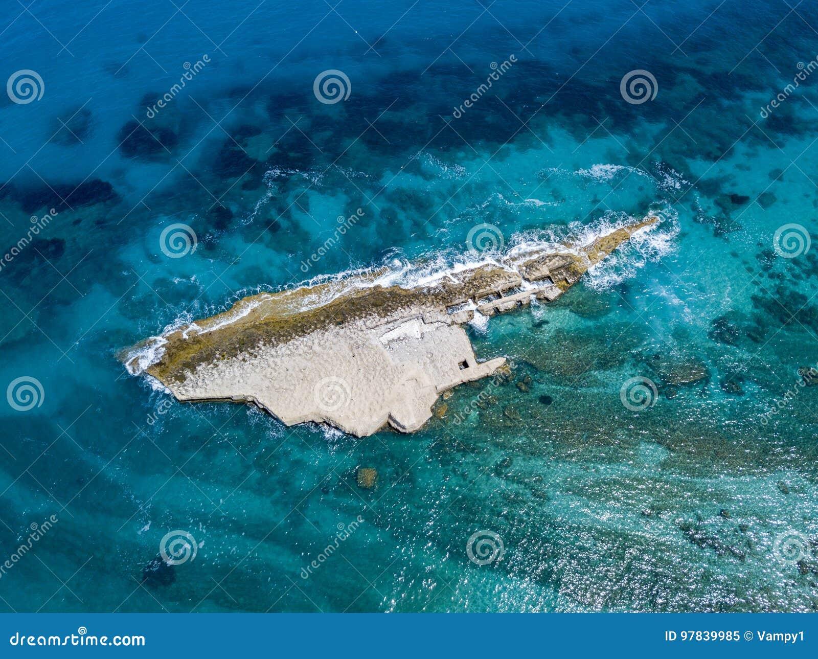 Aerial view of Galera Rock, Sant`Irene Bay in Briatico, Calabria, Italy