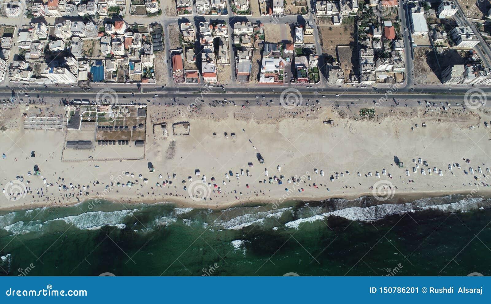 Aerial view of Gaza beach