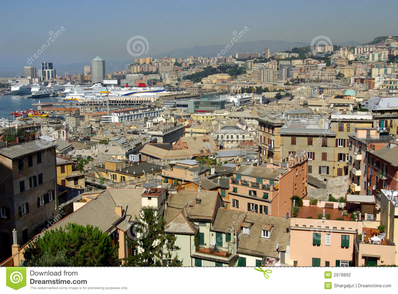 Outside house window - Aerial View Of Genoa Italy Stock Photography Image 2978892