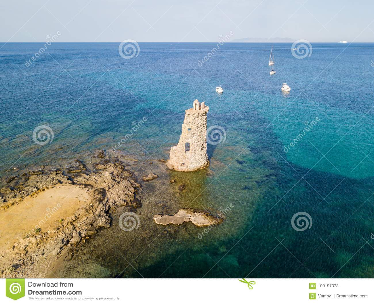 Aerial View of the Genovese Tower, Tour Genoise, Cap Corse Peninsula, Corsica. Coastline. France